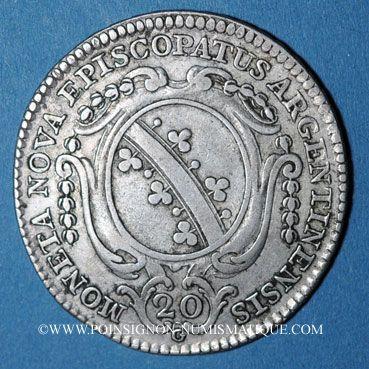Coins Alsace. Strasbourg. Evêché.Louis Constantin de Rohan-Guéménée (1756-79). 20 kreuzers 1773G Günzbourg