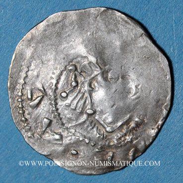 Coins Alsace. Strasbourg. Evêché. Otton II, empereur et l'évêque Erkambald (973-983). Denier