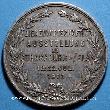 Coins Alsace. Strasbourg. Exposition apicole. 1903. Médaille argent. 42,5 mm