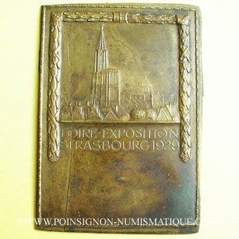 Coins Alsace. Strasbourg. Foire-exposition. 1929. Plaquette uniface bronze. 57,2 x 80,5 mm