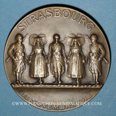 Coins Alsace. Strasbourg. Libération de Strasbourg. 1918. Médaille. Bronze. 49,6 mm