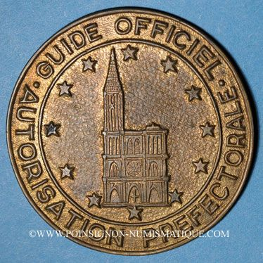 Coins Alsace. Strasbourg. Plaque de guide officiel (vers 1950). Bbronze uniface. 46 mm