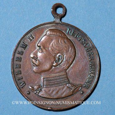 Coins Strasboug. Visite de l'empereur - Défilé militaire. 1908. Médaille cuivre. 30 mm. Avec son anneau