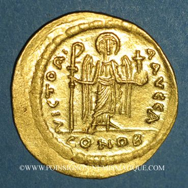 Coins Empire byzantin. Maurice Tibère (582-602). Solidus. Constantinople, 1ère officine. 583-601