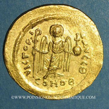 Coins Empire byzantin. Maurice Tibère (582-602). Solidus. Constantinople, 9e officine. 583-601