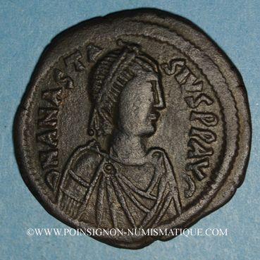 Coins Empire byzantin. Anastase (491-518). Follis. Constantinople, 1ère officine, 498-518