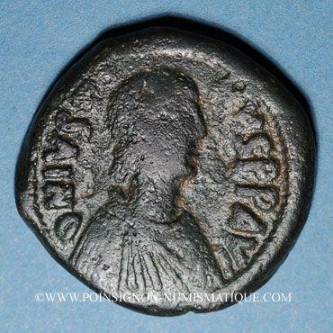 Coins Empire byzantin. Justin I (518-527). Follis. Constantinople, 518-527