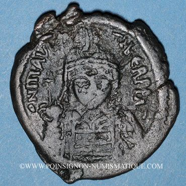 Coins Empire byzantin. Maurice Tibère (582-602). Follis. Constantinople, 3e officine(?), 589-590