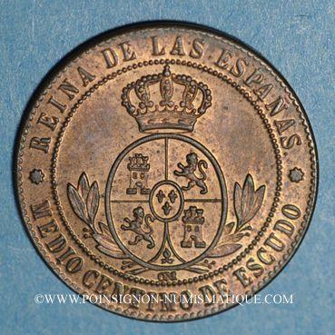 Coins Espagne. Isabelle II (1833-1868). 1/2 centimos 1867 OM. Barcelone