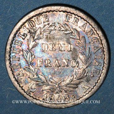 Coins 1er empire (1804-1814). 1/2 franc REPUBLIQUE 1808A