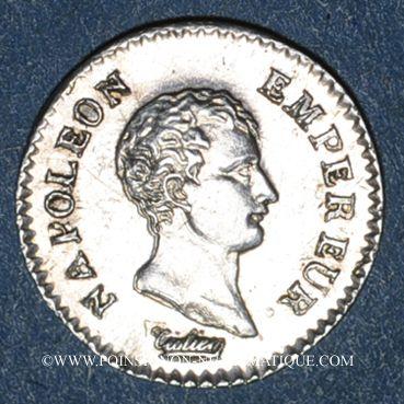 Coins 1er empire (1804-1814). 1/4 franc, tête nue, an 13A