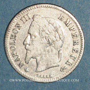 Coins 2e empire (1852-1870). 20 centimes tête laurée petit module 1866A