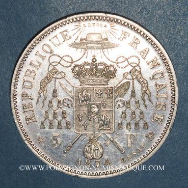 Coins 2e république (1848-1852). Mac Mahon (1875-1879). 5 francs 1874. Essai