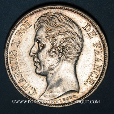 Coins Charles X (1824-1830). 2 francs 1828W. Lille