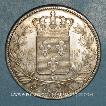 Coins Charles X (1824-1830). 5 francs 1er type 1826A