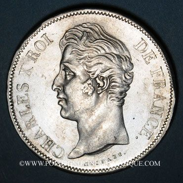 Coins Charles X (1824-1830). 5 francs, 2e type, 1828MA. Marseille