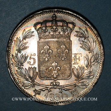 Coins Charles X (1824-1830). 5 francs 2e type 1830MA. Marseille
