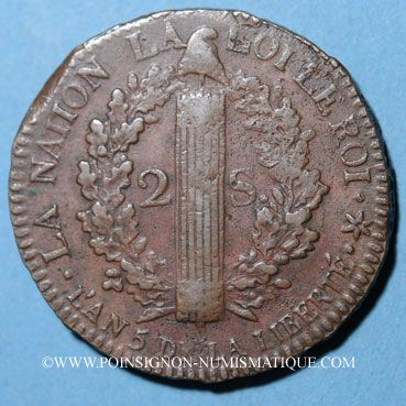 Coins Convention (1792-1795), 2 sols constitutionnel 1793BB, an 5 Strasbourg. Type FRANCAIS, cuivre