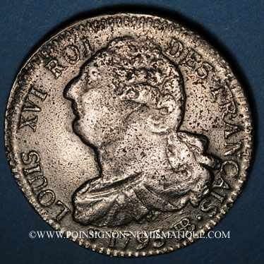 Coins Convention (1792-1795). 2 sols constitutionnel 1793BB, an 5 Strasbourg. Type FRANCAIS