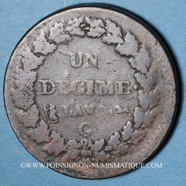 Coins Directoire & Consulat (1795-1804), 1 décime an (8)G Genève