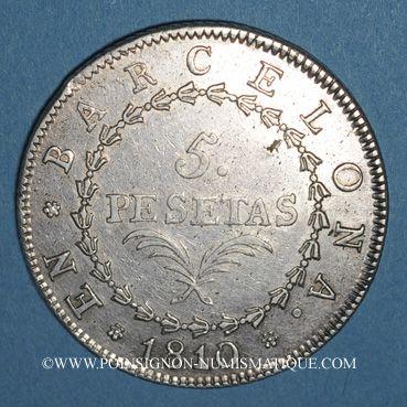 Coins Espagne. Barcelone. Joseph Napoléon (1808-1814). 5 pesetas 1810