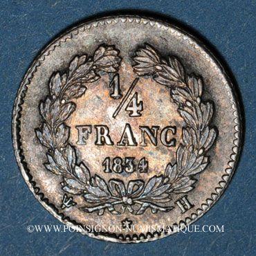 Coins Louis Philippe (1830-1848). 1/4 franc 1834 H. La Rochelle. 46 218 ex !