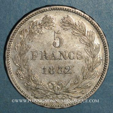 Coins Louis Philippe (1830-1848). 5 francs 1832W. Lille