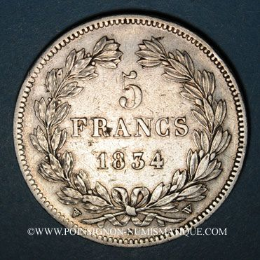 Coins Louis Philippe (1830-1848). 5 francs 1833W. Lille