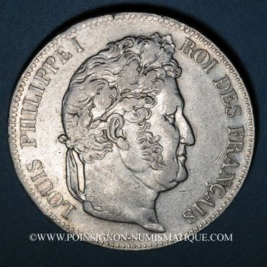 Coins Louis Philippe (1830-1848). 5 francs 1837W. Lille
