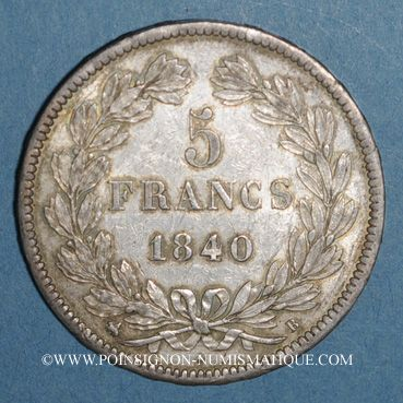 Coins Louis Philippe (1830-1848). 5 francs 1840 B. Rouen