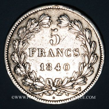 Coins Louis Philippe (1830-1848). 5 francs 1840W. Lille