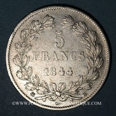 Coins Louis Philippe (1830-1848). 5 francs 1844BB. Strasbourg