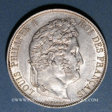 Coins Louis Philippe (1830-1848). 5 francs 1845W. Lille