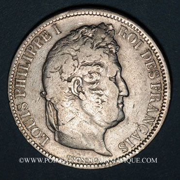 Coins Louis Philippe (1830-1848). 5 francs, tranche en relief, 1831B. Rouen