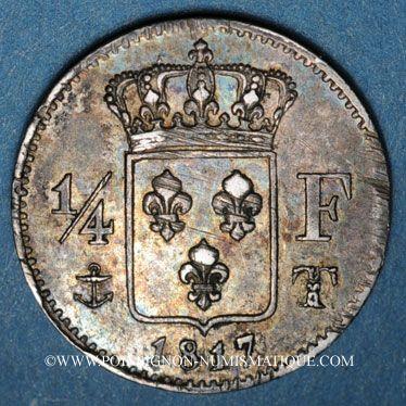 Coins Louis XVIII (1815-1824). 1/4 franc 1817T. Nantes