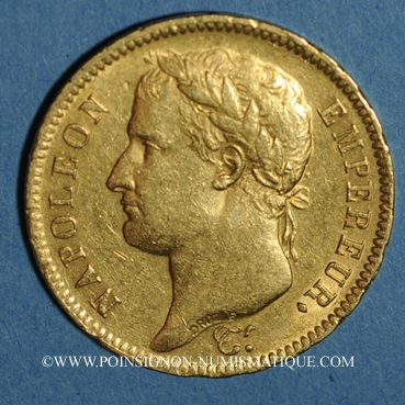 Coins 1er empire (1804-1814). 40 francs tête laurée EMPIRE, 1812 A. (PTL 900‰. 12,90 g)