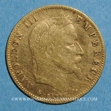 Coins 2e empire (1852-1870). 5 francs Napoléon III tête laurée 1866A. (PTL 900 ‰. 1,612 g)