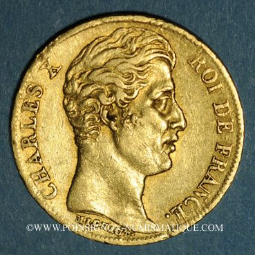 Coins Charles X (1824-1830). 20 francs 1829 W. Lille. (PTL 900‰. 6,45 g). 5 496 ex.!