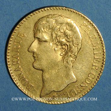 Coins Consulat (1799-1804). 40 francs an XI A. Variété avec l'olive intérieure. (PTL 900‰. 12,90 g)