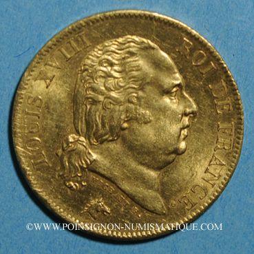 Coins Louis XVIII (1815-1824). 40 francs buste nu 1818 W. Lille. (PTL 900‰. 12,90 g)