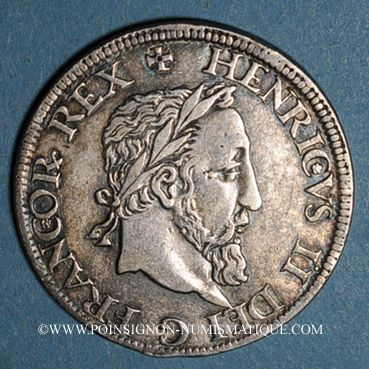 Coins Henri II (1547-1559). Teston frappé au moulin de Paris, 2e type, n. d. (1552)A