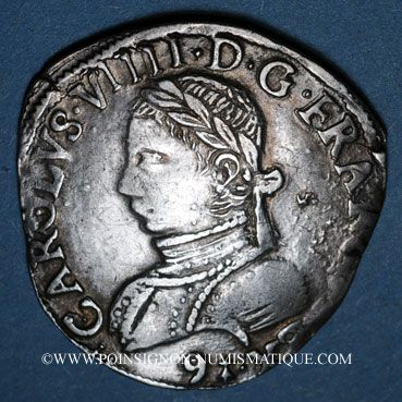 Coins Henri III (1574-1589). Monnayage au nom de Charles IX. Teston, 1er type, 1575. Rennes