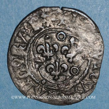 Coins Louis XI (1461-1483). Double tournois, 1ère émission (31 décembre 1461). Saint-Pourçain (point 11e)