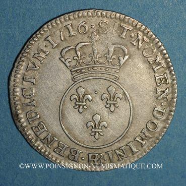 Coins Louis XV (1715-1774). 1/10 écu vertugadin 1716 BB. Strasbourg