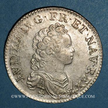 Coins Louis XV (1715-1774). 1/2 écu vertugadin 1716 X. Amiens. Réformation