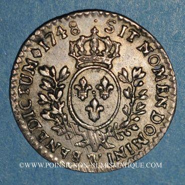 Coins Louis XV (1715-1774). 1/20 écu au bandeau 1748 W. Lille