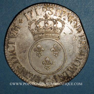 Coins Louis XV (1715-1774). Ecu vertugadin 1717 G. Poitiers. Réformation