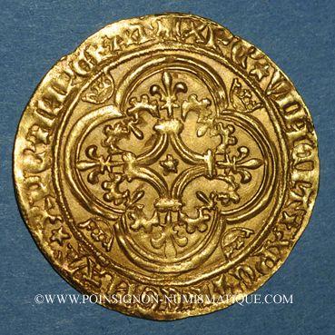 Coins Charles VI le Bien-Aimé (1380-1422). Ecu d'or à la couronne. 4e émission. Point 17e. Saint-Quentin
