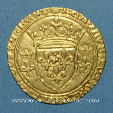 Coins Charles VII (1422-1461). Ecu d'or à la couronne. 3e type, 3e émission. Tours, point 6e