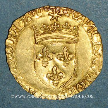 Coins François I (1515-1540). Ecu d'or au soleil, 5e type. Villefranche-de-Rouergue